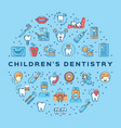 childrens dentistry circle infographics vector image vector image