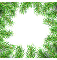 christmas tree frame fir branches greeting card vector image