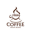 coffe cup and steam icon for coffee beans vector image vector image
