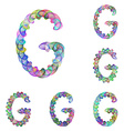 Colorful ellipse fractal font - letter G vector image vector image
