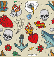 colorful tattoos vintage seamless pattern vector image vector image