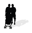 couple with sroller silhouette vector image vector image