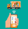 delivery truck full food and smartphone vector image vector image