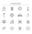Ecology line icons set vector image