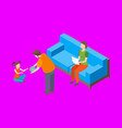 families spending free time 3d isometric view vector image vector image
