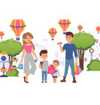 family in amusement park buy sweets for children vector image