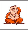 fat buddha scratching his bald head vector image vector image