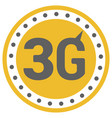 flat 3g logo with speed meter icon and wave vector image vector image