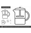french press line icon vector image vector image