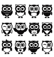 funny black and white owls and owlets vector image vector image