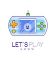 gamepad logo with screen and green-orange buttons vector image vector image