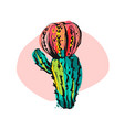 hand drawn abstract collage graphic cactus vector image vector image