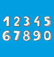 hand drawn numbers on blue background vector image