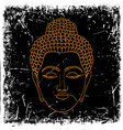head buddha on grunge background vector image vector image