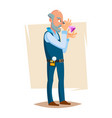 jeweler valuer isolated man professional vector image