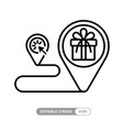 linear delivery icon with gift box full route icon vector image