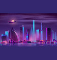 modern city at night cartoon background vector image