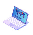 modern laptop open and works wherever is internet vector image vector image