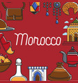 moroccan symbols promo poster with cultural vector image