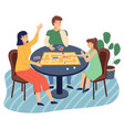 mother daughter father play together at home vector image