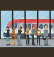 people stand in queue for boarding train vector image vector image