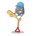 playing baseball shovel character cartoon style vector image vector image