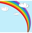 Rainbow and clouds Light blue background vector image vector image