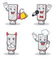 set of flashdisk character with shopping karaoke vector image