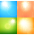 summer sun burst with lens flare set eps 10 vector image vector image
