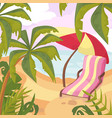 summertime on the beach palms and plants around vector image vector image
