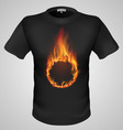 t shirts Black Fire Print man 22 vector image vector image