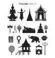 Thailand Culture Objects Silhouette Set vector image