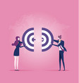 two businessperson push a pieces target vector image