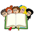 various kids holding book vector image