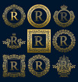 vintage monograms set of r letter vector image