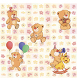 wallpaper with stuffed bear cubs vector image vector image