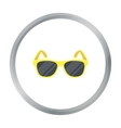 Yellow trendy sunglasses icon in cartoon style vector image