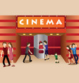 young people hanging out outside a movie theater vector image