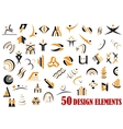 Fifty abstract design elements in black and yellow vector image