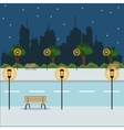 landscape night city street park brench vector image
