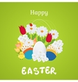 Happy Easter Card with Eggs Flowers Poster vector image