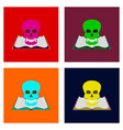 assembly flat book skull vector image vector image