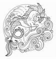 beautiful sea unicorn surrounded by waves vector image