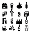 Beer brewery pub icons set