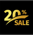 black banner discount purchase 20 percent sale vector image