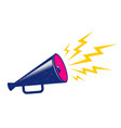 blue megaphone on white background vector image vector image