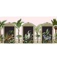border with tropical trees animals and door vector image