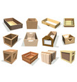 box package wooden empty drawers and packed vector image vector image