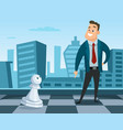 businessman standing on a chess board concept vector image vector image