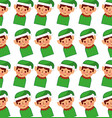 christmas elf avatar character pattern background vector image